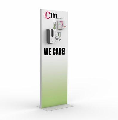 Standaard voor temperatuur scanner en desinfectiemiddel dispenser