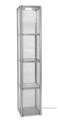 mobiele vierkante vitrine Twister 50x50x200cm