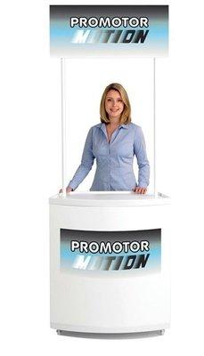 Promotor beursbalie Motion met topbord (B)